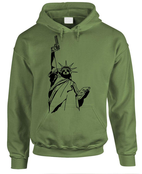 LIBERTY GUN (Statue) - Gun Rights Freedom - Fleece Pullover Hoodie (fleece)