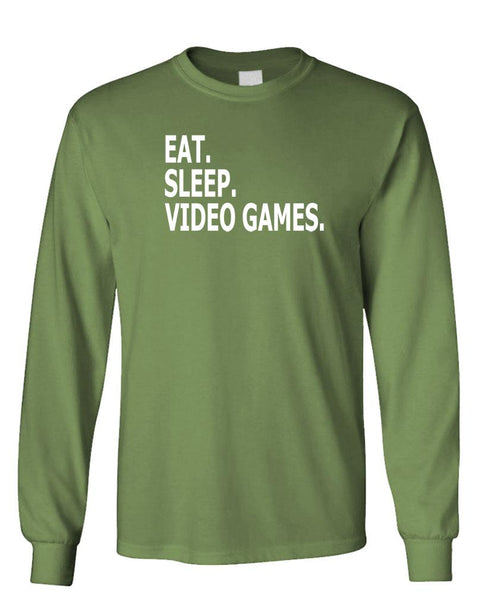 EAT. SLEEP. VIDEO GAMES - Unisex Cotton Long Sleeved T-Shirt (lstee)