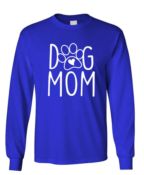 DOG MOM - Unisex Cotton Long Sleeved T-Shirt (lstee)