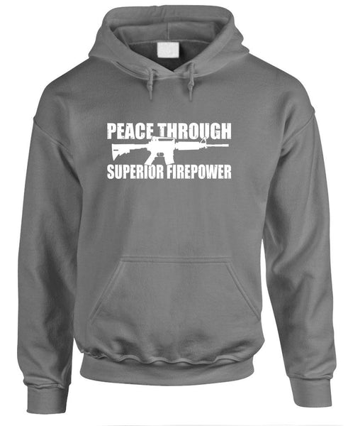PEACE THROUGH Superior Firepower Gun Rights - Fleece Pullover Hoodie (fleece)