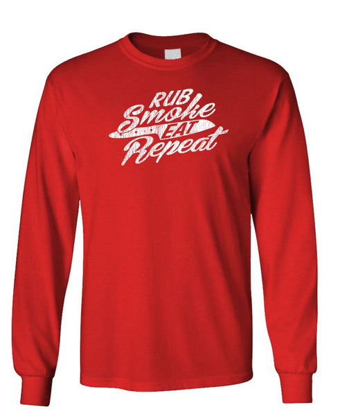 RUB SMOKE EAT REPEAT - bbq barbecue - Unisex Cotton Long Sleeved T-Shirt (lstee)