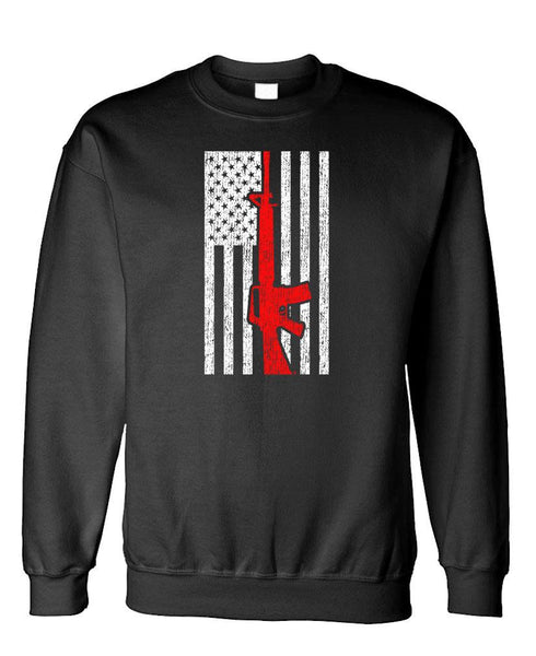 MILITARY AMERICAN FLAG - Fleece Crew Neck Pullover Sweatshirt (fleece)