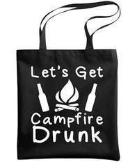 LET'S GET CAMPFIRE DRUNK - camping hike - Heavy Duty Tote Bag (tote)