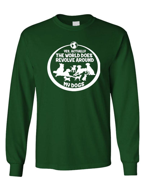 EARTH REVOLVES AROUND MY DOGS - Unisex Cotton Long Sleeved T-Shirt (lstee)