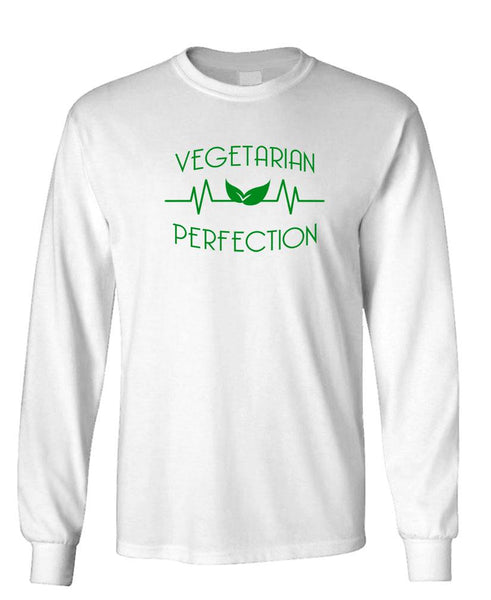 VEGETARIAN PERFECTION - Unisex Cotton Long Sleeved T-Shirt (lstee)