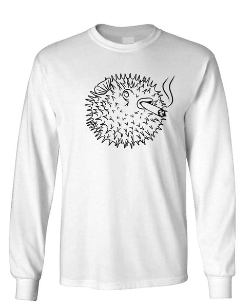 PUFFER FISH SMOKING A CIGARETTE - Unisex Cotton Long Sleeved T-Shirt (lstee)
