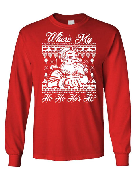 WHERE MY HOS AT - Unisex Cotton Long Sleeved T-Shirt (lstee)