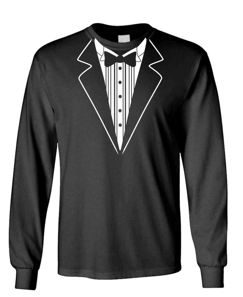 SIMPLE TUXEDO SHIRT - Unisex Cotton Long Sleeved T-Shirt (lstee)