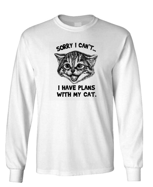 SORRY I CAN'T I have Plans with my cat - Unisex Cotton Long Sleeved T-Shirt (lstee)