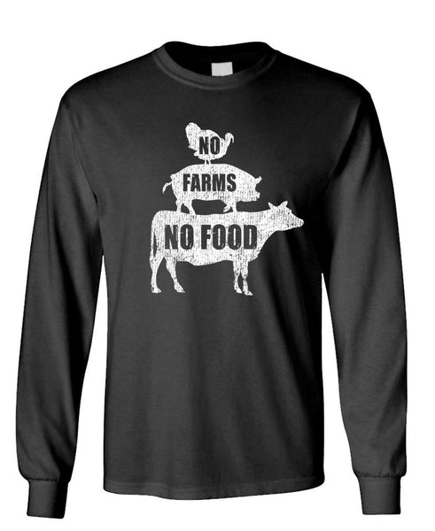 NO FARMS NO FOOD - Unisex Cotton Long Sleeved T-Shirt (lstee)
