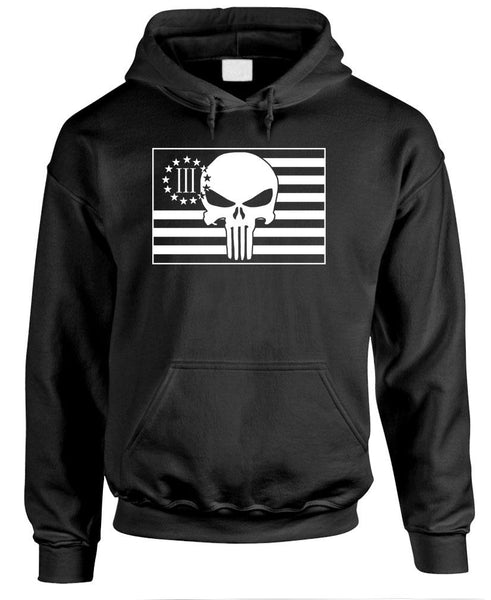 THREE PERCENTER Flag With Skull - America - Fleece Pullover Hoodie (fleece)