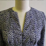 Short sleeve navy dainty floral blouse