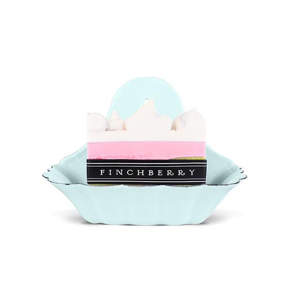 FinchBerry - d. Scalloped Blue Metal Soap Dish