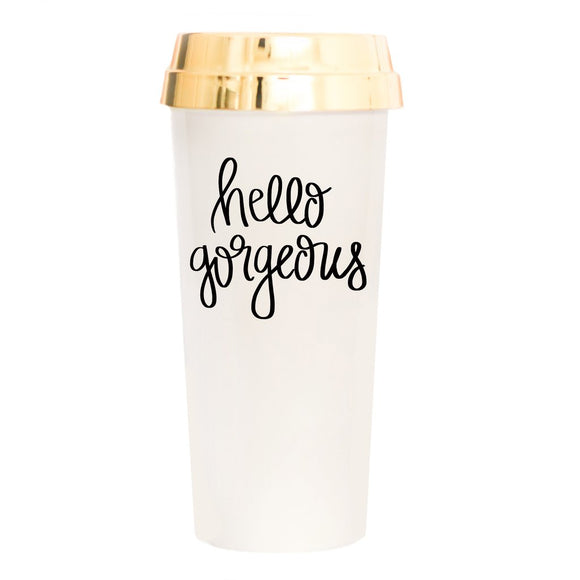 Sweet Water Decor - Hello Gorgeous Gold Travel Mug