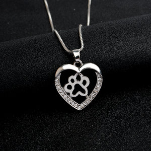 Heart Shaped Paw Pendant Necklace