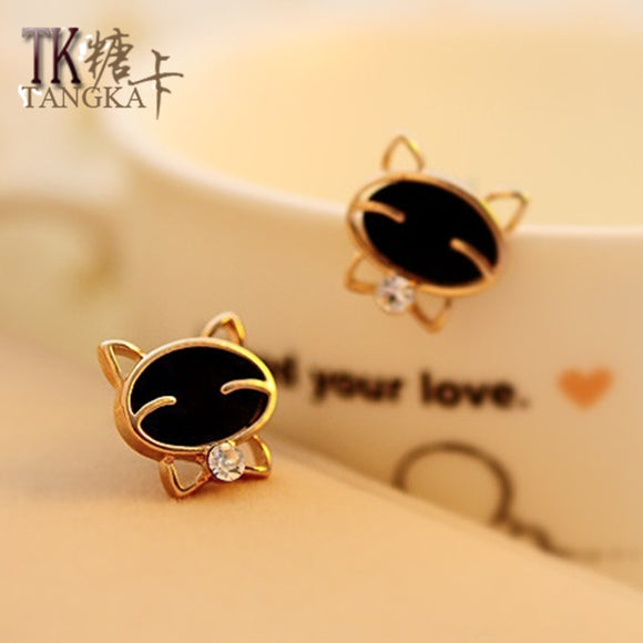 New women earring mosaic zircon cute black kitten wearing earrings fashion jewelry accessories