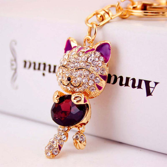 Cat Rhinestone Key Ring