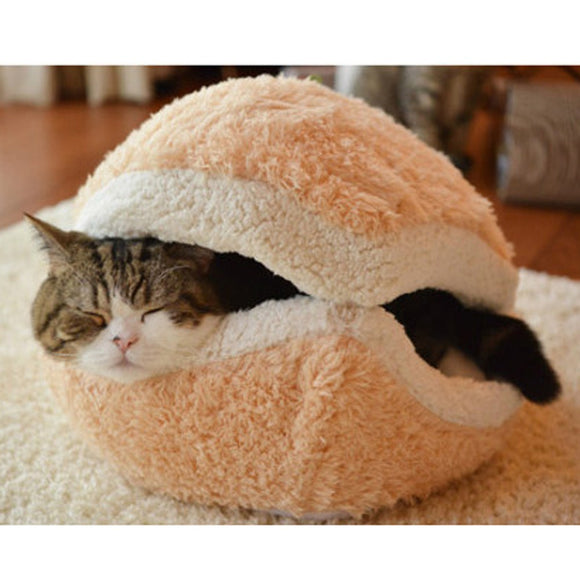 Soft Hamburger Style Cat Bed