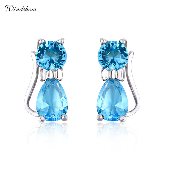 Blue Crystal Stud Earrings with real .925 Silver