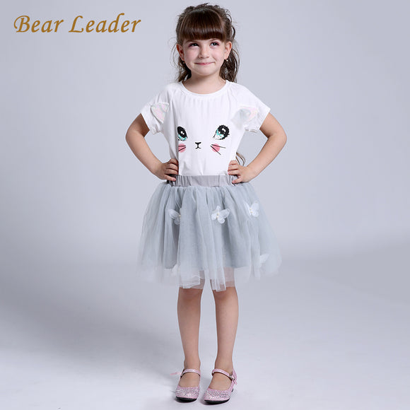 Girls Dress Autumn Casual Style Cartoon Kitten Print Clothes