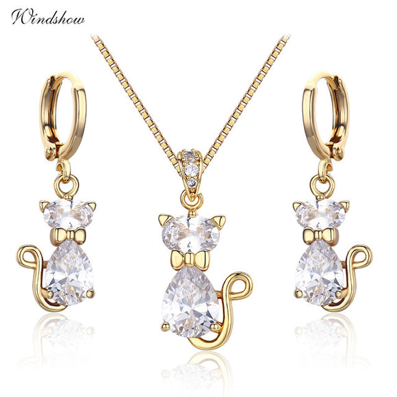 Cute Kittens Cats Pink CZ Stones Pendants Necklaces Drop Earrings Yellow Gold Color Jewelry Sets For Women Children Girls Kids
