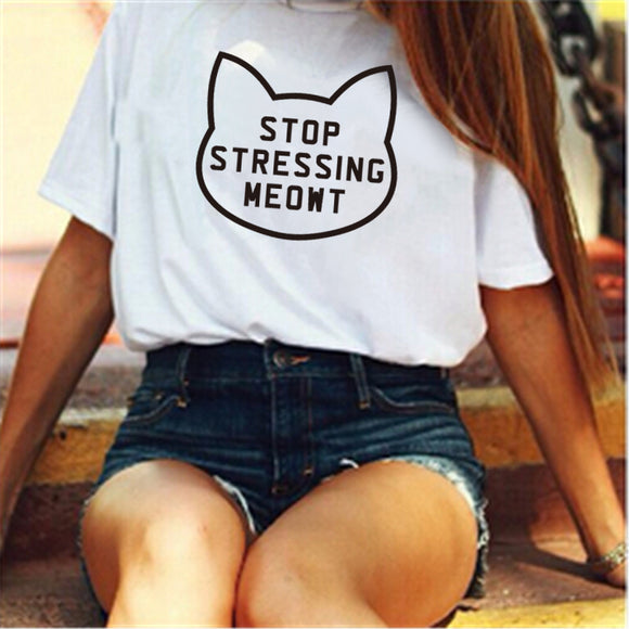 Cat Tees Stop Stressing Meowt Love Cats T Shirt Womens Girls