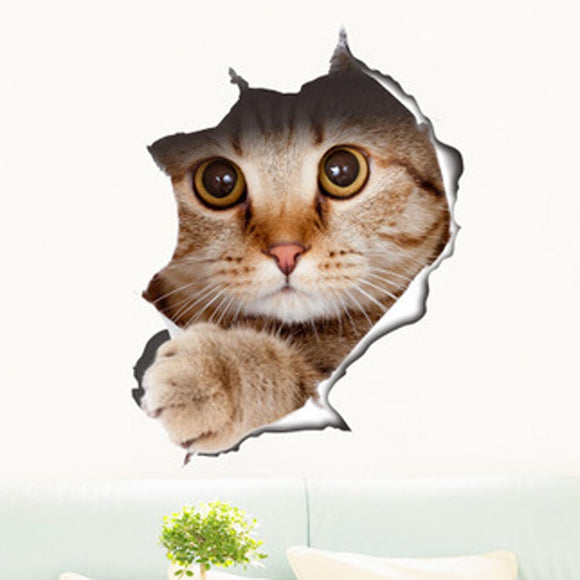 Cute Kitten Toilet Stickers Wall Decals Art Decr approx 8.25 x 11.5