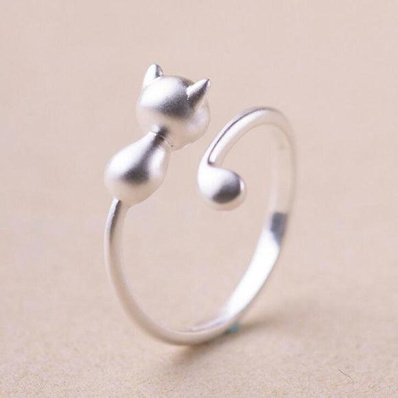 Silver Vintage Cat Open Toe Ring