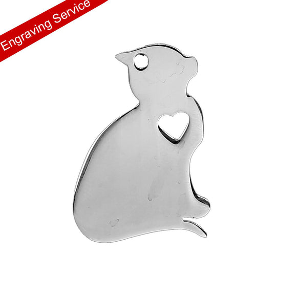 Stainless Steel Cat Pendant with Engraving Service 1 x .75