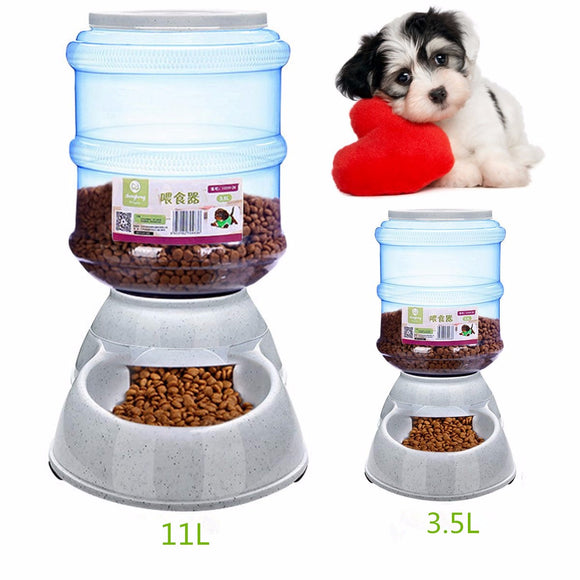 Large Automatic Plastic Pet Dog Cat Feeder Dish Food Bowl Dispenser Portion Control Pet Puppy Kitten Feeding Tools 11L/3.5L