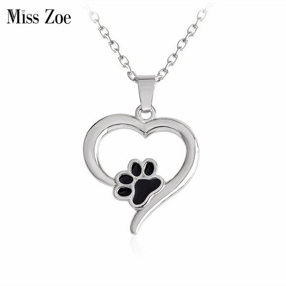 Black Paw And Heart Necklace Pendant