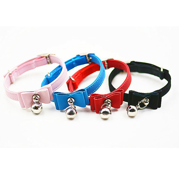 Cat and Dog Leather PU Pet Collars with Bell