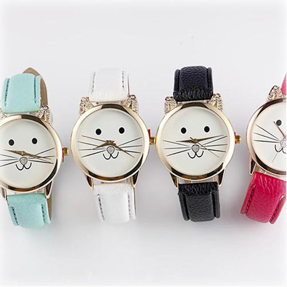 Cats Face Kids Leather Wrist Watch