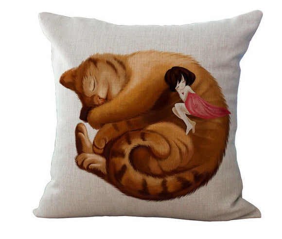 Customizable Lazy Cat Pillow Case