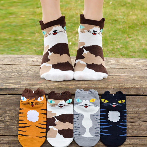 Cute Girls Kitten Design Socks