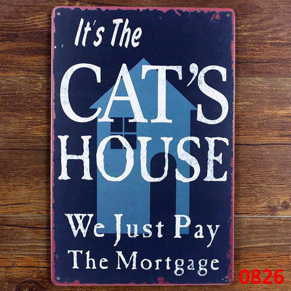 Funny Cat Tin Sign Home Decor
