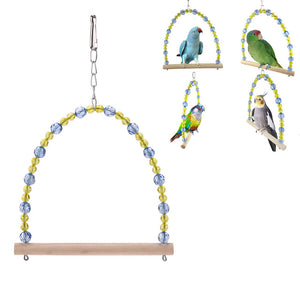 Crystal Bead Bird Cage Hanging Perch