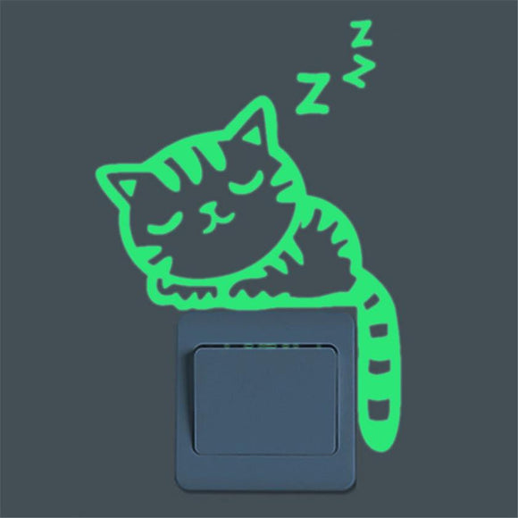 Glow in the Dark Wall Switch Cat Sticker