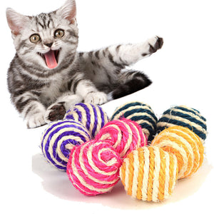 Cat Pet Rope Weave Ball Teaser Play Chewing Rattle Scratch Catch Toy