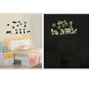 Fluorescent Cats Bedroom Wall Stickers Home Decor