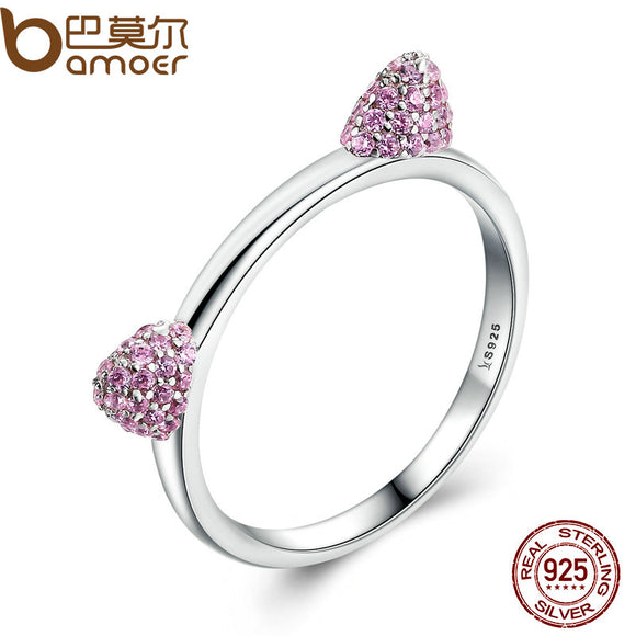 925 Sterling Silver Cat Ring with CZ