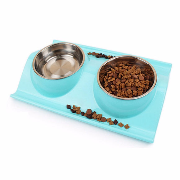 Leak-proof Double Side Stainless Steel Plastic Dog Bowl Feeder