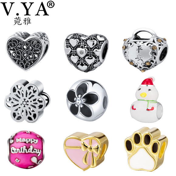 V. YA Personalized Christmas Jewelry Beads Fits Pandora Bracelets Necklaces
