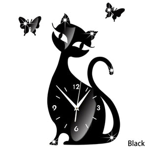 Cat Mirror Wall Clock Black Modern