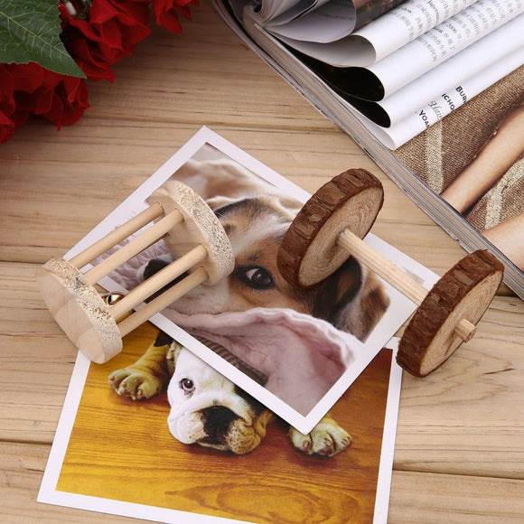 Natural Wood Dumbell Roller Toy for Pets
