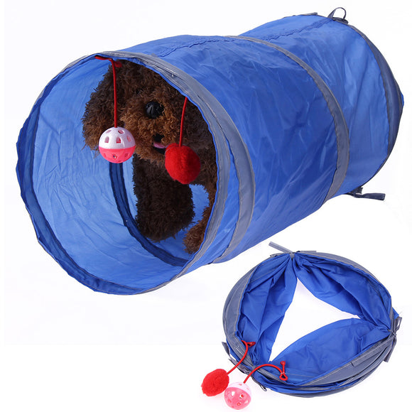 Portable Pet Cat Tunnel Toy With Ball Foldable Lovely Crinkly Kitten Tunnel Play Fun Toy Cat Puppies Rabbits Running Toys