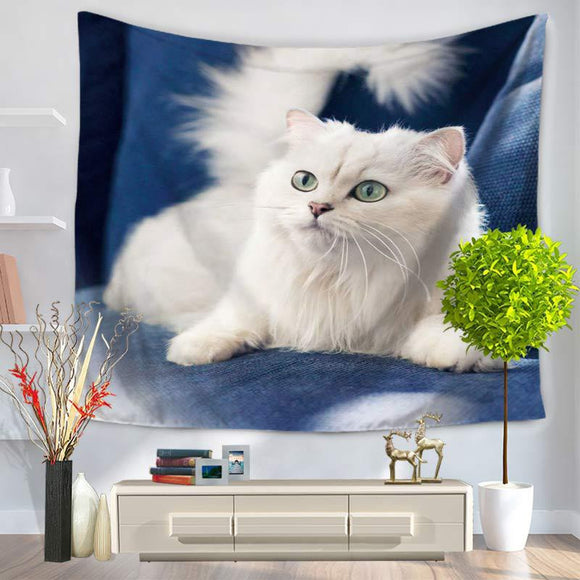 Tapestry Pets The White Cat Printing Sandy Beach Hanging Cloth Blanket