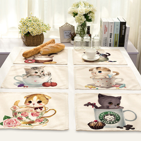 Cotton Tablemat Teacup Cat Printing for Tableware