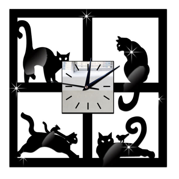 Sleek Crystal Mirror Cat Wall Clock 11x11 inches