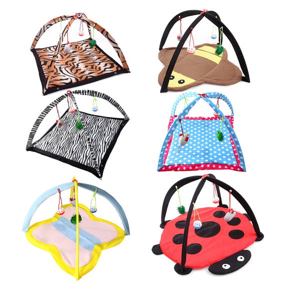Colorful Printed Pet Bed with Hanging Toys